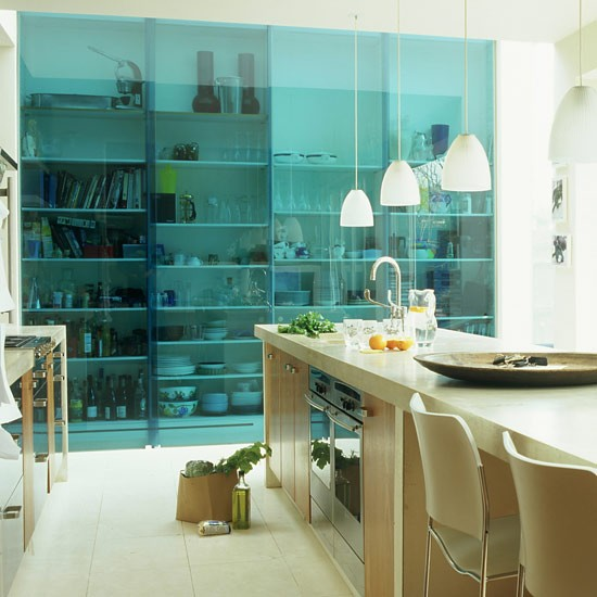Coloured Glass Sliding Doors for Kitchen Storage