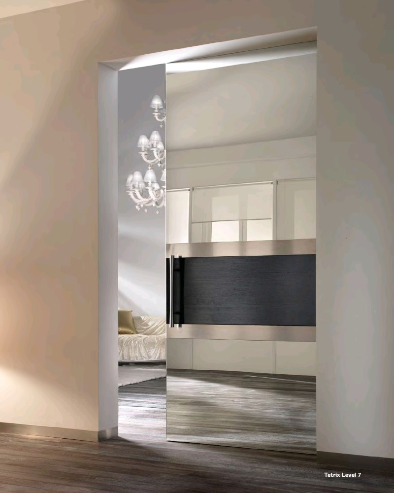 Contemporary Mirrored Sliding Glass Doors
