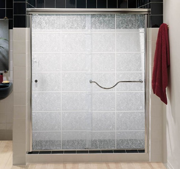 Frosted Glass Bypass Shower Doors With Stainless Steel Frame