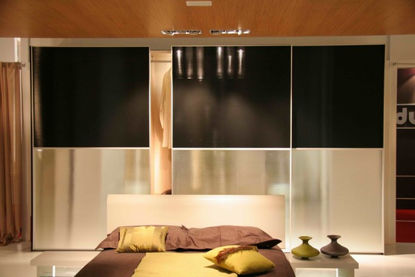 Two Color Frosted Glass Sliding Closet Doors for Modern Bedroom