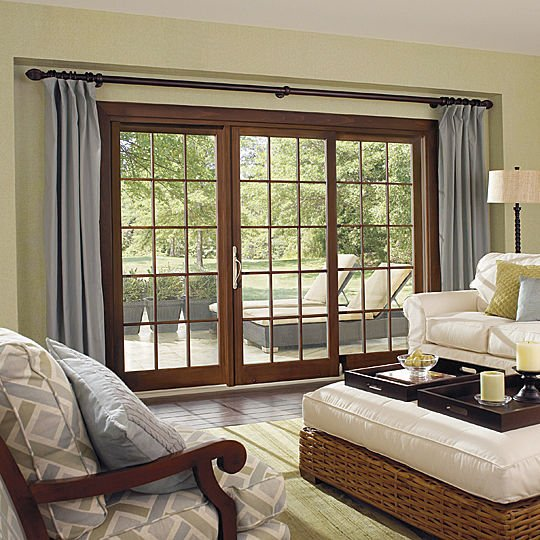 Sliding patio doors for modern home designs sliding wood for Wood french patio doors