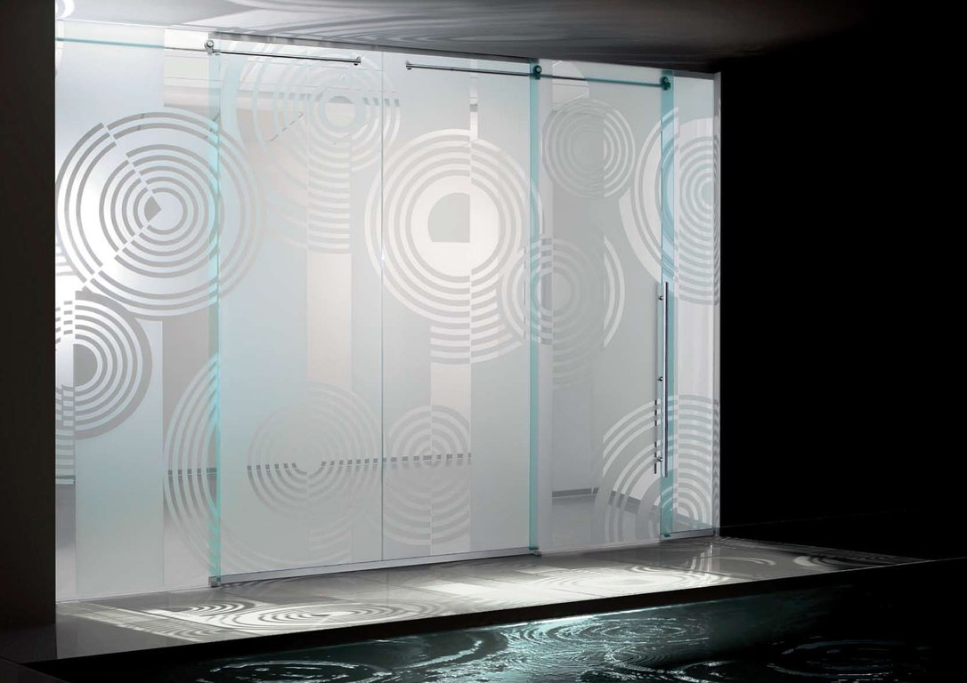 Amazing design of modern sliding glass doors spiral etched Modern glass doors interior