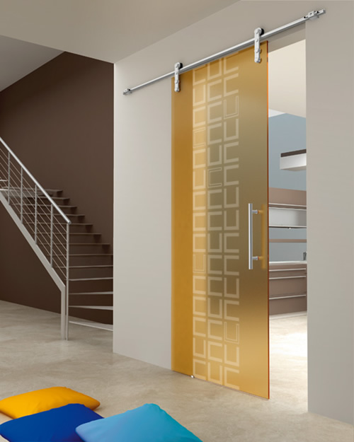 Yellow Frameless Sliding Glass Doors