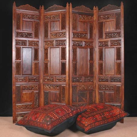 Carved Wood Room Divider Folding Dividers