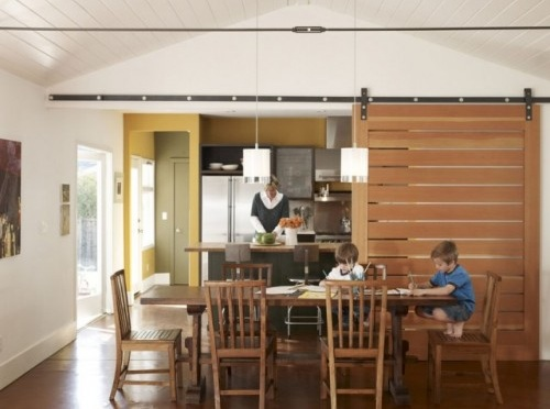 Contemporary Sliding Barn Doors Design for Dinning Room