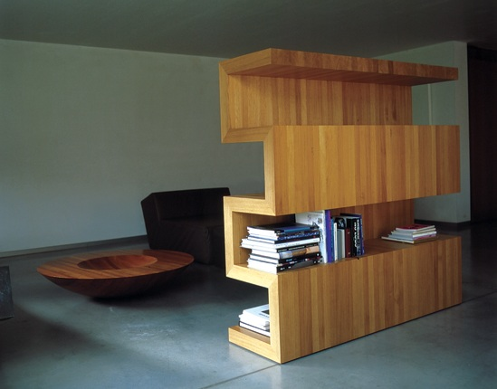 Solid Wood Bookcase Design as a Room Dividers