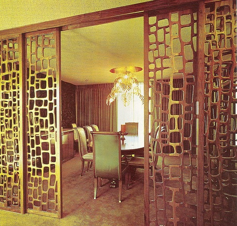 Wood Room Divider Sliding Design Retro Style