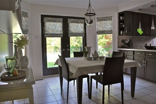 Custom Shades for French Doors in Modern Kitchen
