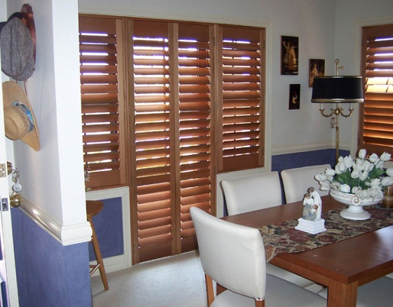 Wooden Look French Door Window Blinds