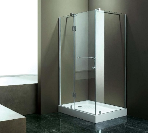 Simple Frameless Glass Shower Door with Handle