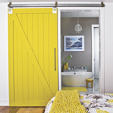 Yellow Interior Barn Doors as Decorative Room Divider