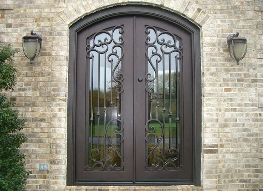 Rustic Style Portella Steel Entry Doors with Glass