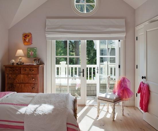 Simple White Bedroom French Door Window Treatment Ideas